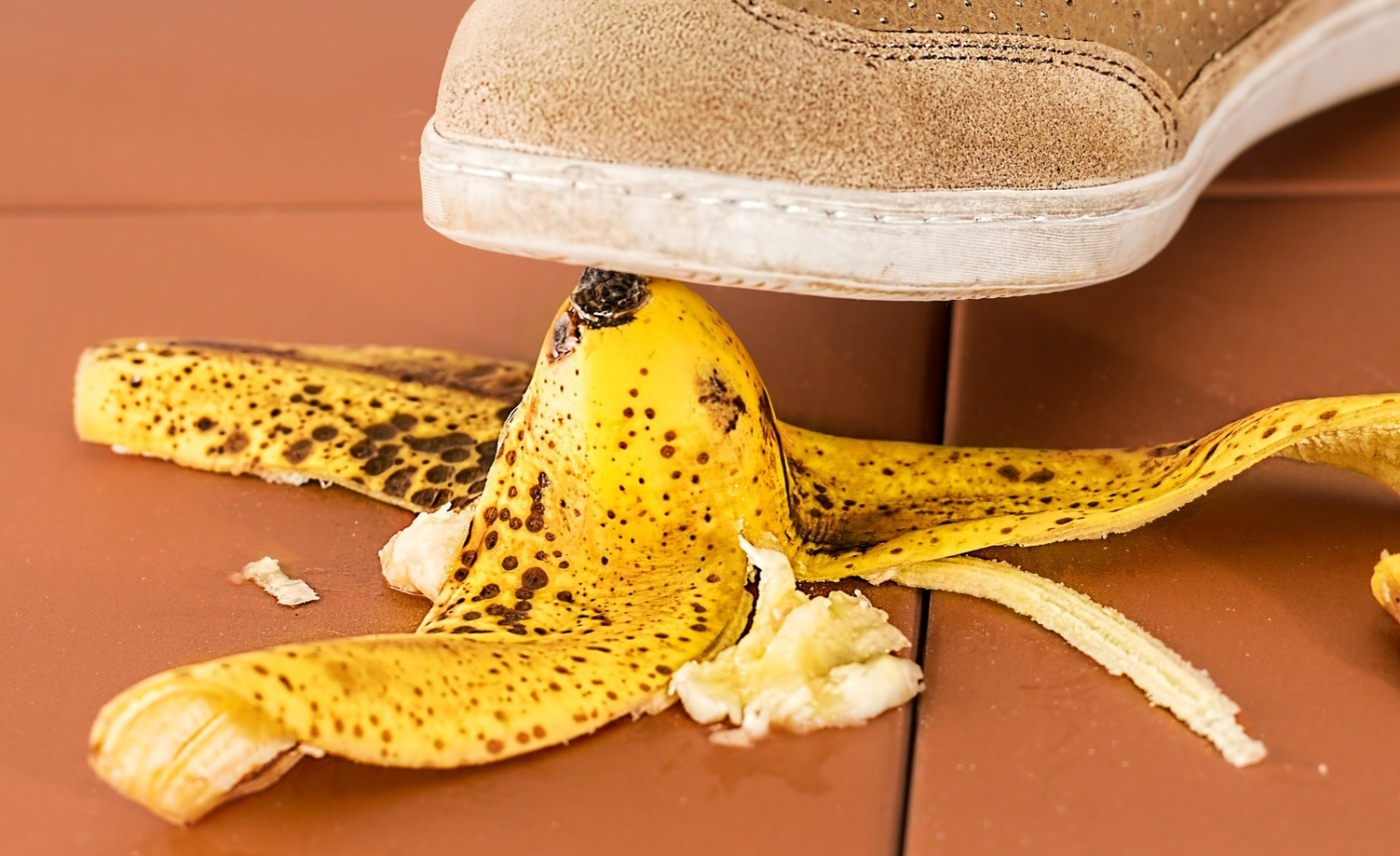 banana peel underfoot